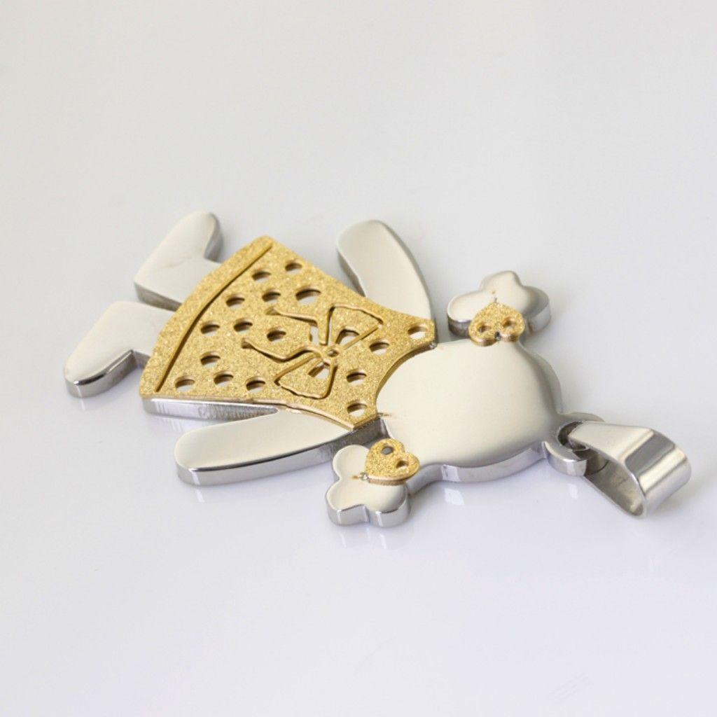 Geben Sie Schiff hochwertige gelbe sandige Mädchen-hängende Halskette des Edelstahl-45 * 30mm Art- und Weisekleine Mädchen Anhängercharme heißen Schmucksachen frei
