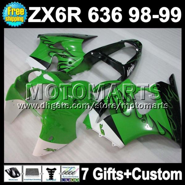 Free Customized+7gifts For KAWASAKI NINJA ZX6R black flames ZX 6R 636 MT617 ZX-6R ZX636 ZX-636 98 99 ! 1998 green blk 1999 98-99 Fairing Kit