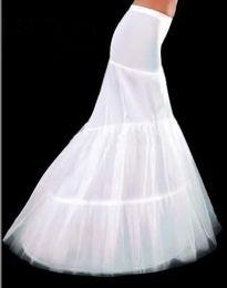 Wholesale Mermaid Wedding Petticoats - White 2-Hoop Wedding & Events Fishtail Mermaid Wedding Dress Bridal Petticoat Crinoline petticoats Underskirt Bridal Accessories