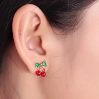 Wholesale Cherry Ornament - Sweet Cherry Earrings fashion diamond stud earring charm jewelry wedding ornament free shipping