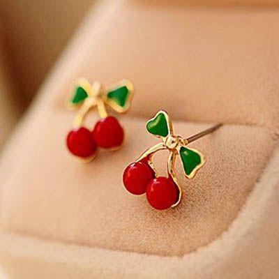 Sweet Cherry Earrings fashion diamond stud earring charm jewelry wedding ornament