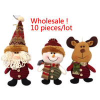 muñecas de santa nieve de navidad al por mayor-Santa Claus Snow Man Doll Decoraciones de Navidad Árbol de Navidad Gadgets Adornos Muñeca Regalo de Navidad G666