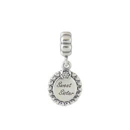 China S925 Stamped Sterling Silver Screw Core Sweet Sister Dangle Charm Bead Fits European Style Jewelry Bracelets Necklaces & Pendants cheap sisters style bracelets suppliers