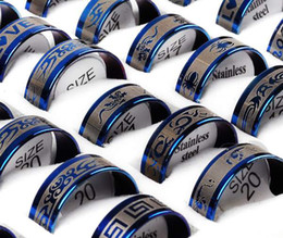 Wholesale Ring Size 17 - New Wholesale jewelry lots 36pcs Blue Tone Stainless Steel Men's Rings Size:17-21mm Free Shipping[SR14*36]