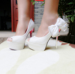 Wholesale Slip Steel Toe Shoes - 2014 New High Steel PU Wedding Shoes Bow Beads Crystal White Black Bridal Shoes White Black