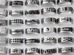 Wholesale Wholesale Stainless Steel Rings Men - Free shipping Wholesale mix lot 36pcs Stainless Steel Ring Fashion Men Jewelry Wholesale Hot Sale [SR52*36]H-6