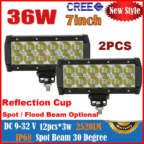 """2014 8"""" 36W 12LED*3W CREE LED Working Light Bar Spot Driving Off-Road SUV ATV 4WD 4x4 Flood Beam 9-32V 2800LM JEEP Fog Reflection Cup"""