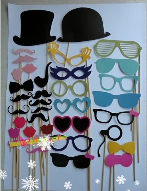 Lustige Weihnachten, die Fotos nehmen Werkzeuge Lippen Schnurrbärte Brille mit Stöcken 36 Entwürfe für Hochzeit oder Kinder, die Fotos nehmen Neue 2014 Geschenkspielwaren