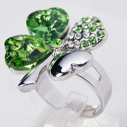 Wholesale Matching Wedding Rings - Fashion Clover rings created Color Stone Ring wedding jewelry made with Peridot Crystal Elements, matching jewelry sets available