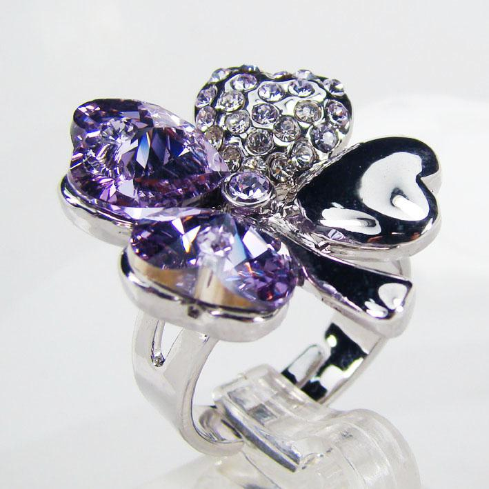 Fashion Clover rings created Color Stone Ring wedding jewelry made with Dark Purple Crystal Elements, matching jewelry sets available
