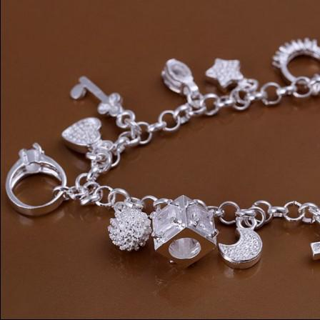 High quality 925 silver plated charm bracelet pendant 13 fashion party jewelry christmas gift