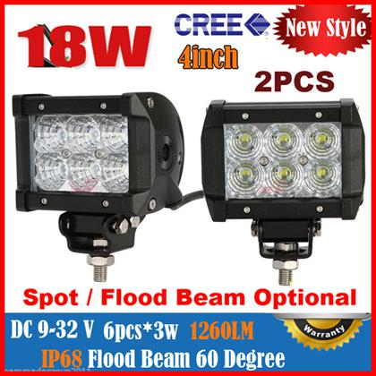 """2014 4.5"""" 18W 6LED*3W CREE LED Working Light Bar Spot Driving OffRoad SUV ATV 4WD 4x4 Flood Beam 9-32V 1400LM JEEP Fog Reflection Cup"""