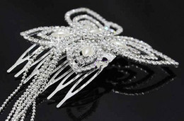 Wholesale Antique Silver Hair Pin - 2016 New Beautiful Butterfly Crystal Wedding Bridal Hair pins with Tassels Headwear Butterfly Rhinestones wedding accessories