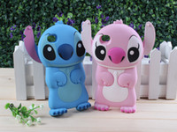 Wholesale Iphone 4s Cartoon Flip Case - 3D Cute Silicone Rubber Cartoon Lilo & Stitch Movable Ear Flip Hard Back Case Cover Skin for Apple iPhone 4 4S 4G 5 5S