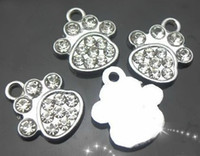 Wholesale Dog Charm Hanging - hot selling 100pcs lot rhinestone paw hang pendant charm fit for dog tag free shipping