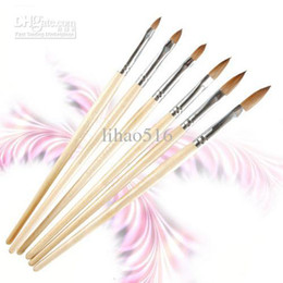 Wholesale Acrylic Kolinsky - Wholesale - Free Shipping 6pcs set size 2 4 6 8 10 12 Kolinsky Acrylic Wooden Handle Nail Art Sable Brushes Set NA279