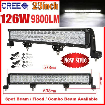 """2014 NEW 23"""" 126W 42LED*3W CREE LED Work Light Bar Spot Driving Off-Road SUV ATV 4WD 4x4 Flood / Combo Beam 9-32V 9800LM JEEP Reflection Cup"""