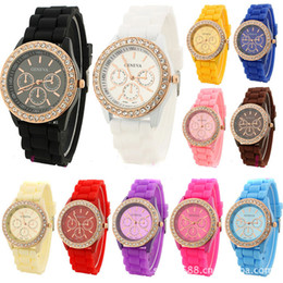 Wholesale Geneva Digital Watches - 2015 Fashion Geneva Crystal Diamond Jelly Silicone Watch Unisex Men's Women's Quartz Candy Watches DHL shipping