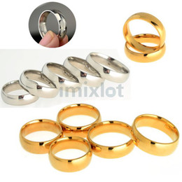 Wholesale Stainless Steel Ring Plain - Fashion Gold Silver Plated Rings Engagement Ring Stainless Steel Simple & Plain Rings 17-21mm Free Shipping[JR01037 JR01038*15]