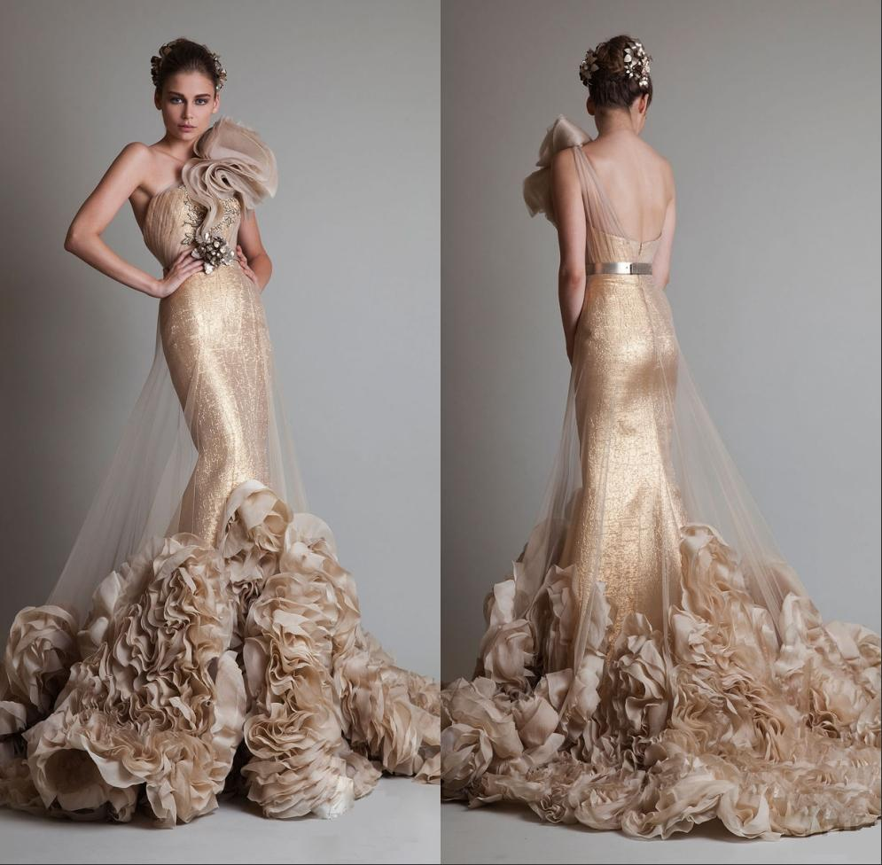 2014 New Designer Luxury Gold Color Gown One Shoulder Tulle Mermaid ...
