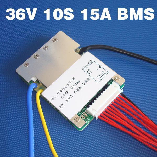 10s 36V 15A litiumbatteri BMS PCM som används för 36V 8AH 10AH 12AH och 15AH batteripaket 37V BMS PCM med balansfunktion