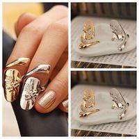 party nägel großhandel-10 teile / los Exquisite Nette Retro Königin Libelle Design Strass Pflaumenschlange Gold / Silber Ring Fingernagel Ringe
