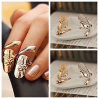 Wholesale Ring Finger Nail Designs - 10pcs lot Exquisite Cute Retro Queen Dragonfly Design Rhinestone Plum Snake Gold Silver Ring Finger Nail Rings