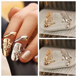 10pcs lot Exquisite Cute Retro Queen Dragonfly Design Rhinestone Plum Snake Gold Silver Ring Finger Nail Rings
