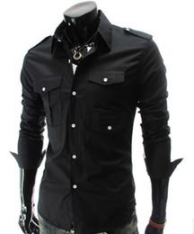 Wholesale Slim Denim Shirt - NEW Men's casual Slim long Sleeve Shirts Men's Many pocket Shoulder strap shirts Dress Shirts For Men Business Shirts 5017