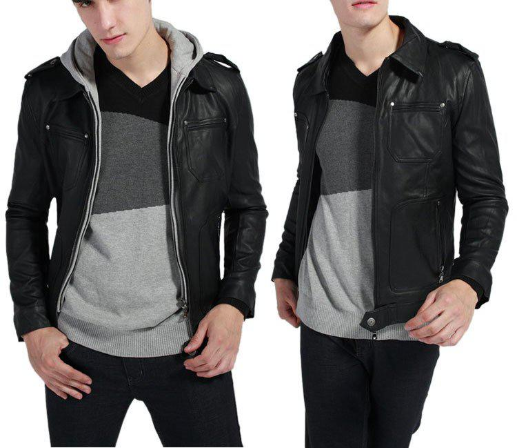 Men'S Jacket,2015 New Slim Pu Leather Jacket,Double Zipper Hoodie ...