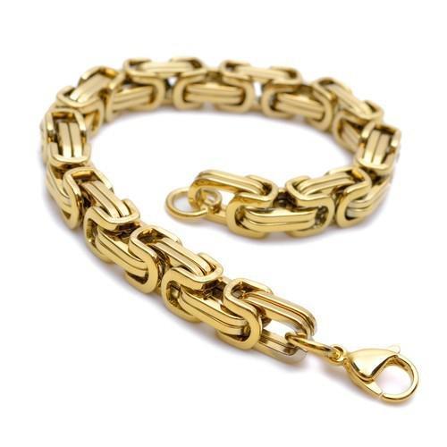 8.66 '' رجالية سوار 8.5mm البيزنطية سلسلة 100 ٪ الفولاذ المقاوم للصدأ الأزياء والمجوهرات مطلية بالذهب