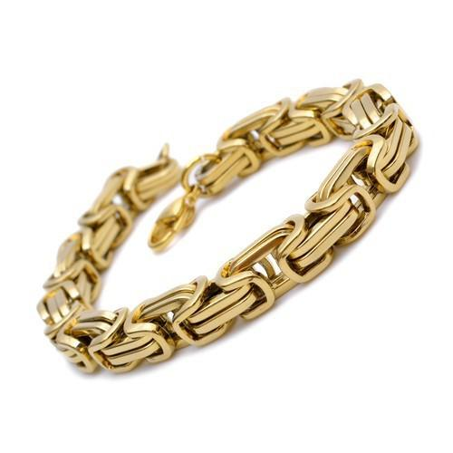 8.66'' Men's Bracelet 8.5mm byzantine chain 100% Stainless Steel jewelry fashion gold plated
