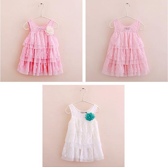 Mädchen Sommer Sleeveless Kuchen Kleid Kinder Spitze Höhlte Kleider Layered Mode Baby Prinzessin Kleider Kinder Kleider Kleidung