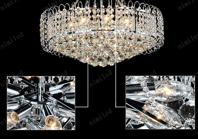 Nimi155 Dia 530 * H500mm Moderne K9 Kristall Kronleuchter Anhänger Droplight Lampe Beleuchtung Für Restaurant Wohnzimmer Schlafzimmer Silber / Golden