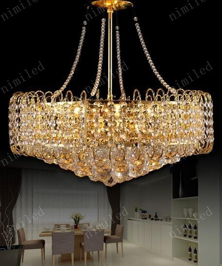 NIMI155 DIA 530 * H500mm Modern K9 Crystal Chandelier Hängsmycke Droplight Lampa Belysning för restaurang Vardagsrum Sovrum Silver / Golden