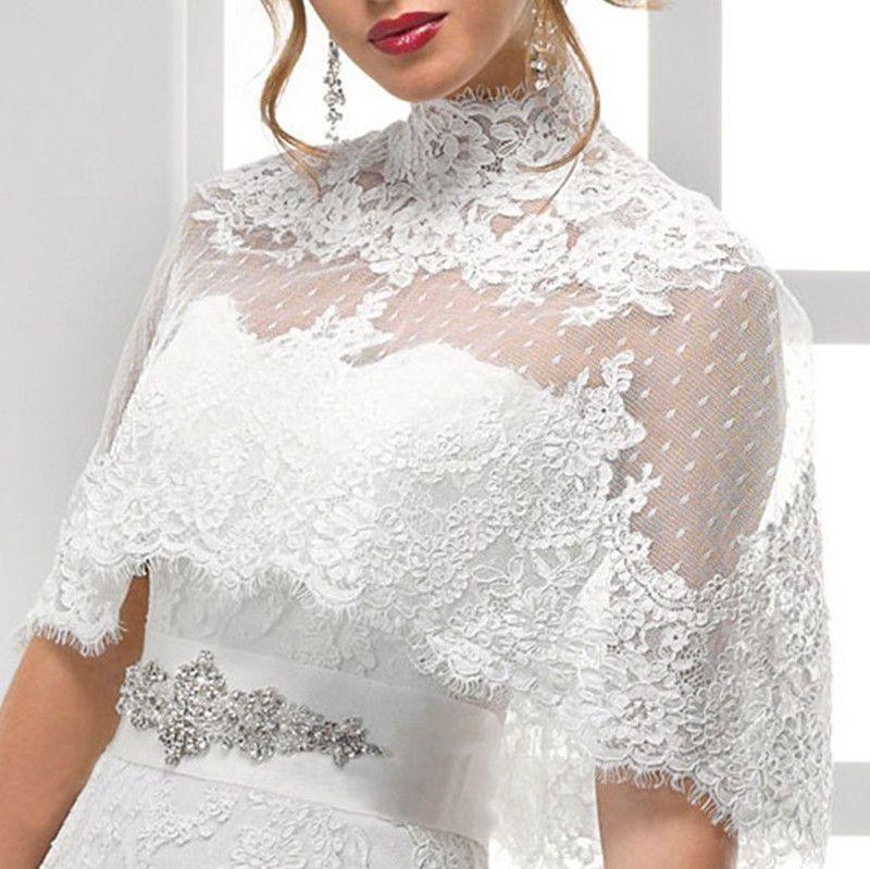 White Wedding Dress Jacket: 2019 White Ivory Bride's Lace Applique Shrug Shawl Overlay