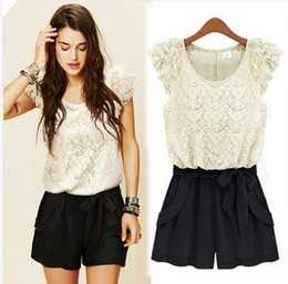 Wholesale Lace Shorts Romper - Pink lace patchwork jumpsjumpsuit summer patchwork casual women shorts romper with belt bodysuit sexy loose lace white patchwork jump