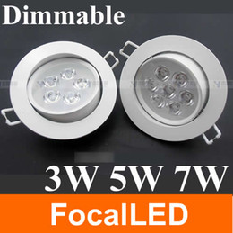 Ceiling Aluminum Shell Canada - High quality white shell 90~265V 3w 5w 7W warm white White dimmable led downlight led Ceiling light lamp ,free shipping