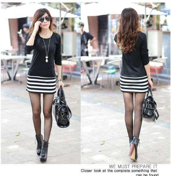 Kadınlar Günlük Elbiseler Yeni Stil Kore Moda Lady Şerit Mini Uzun Kollu Cherrykeke Günlük Elbiseler 3 Renkler Kadınlar Sonbahar Giyim D-1
