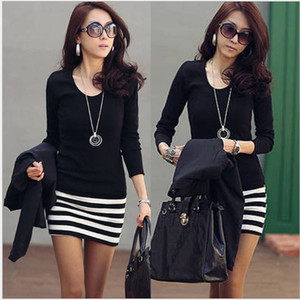 Wholesale Women Casual Dresses New Style Korean Fashion Lady Stripe Mini Long Sleeve Cherrykeke Casual Dresses Colors Women Autumn Clothing D
