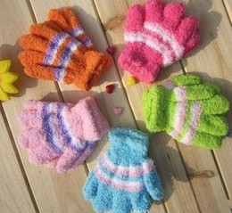 Wholesale Children Gloves Wool - Children's gloves   multi-color stitching fingers warm gloves   gloves child   baby gloves