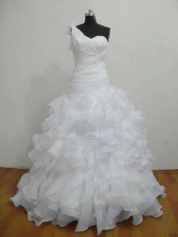 Partihandel - Gratis frakt Ball Gown Sweep Organza One Shoulder Lace-up Vit Bröllopsklänningar Brudklänningar