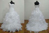 um vestido de casamento varredura de ombro venda por atacado-Venda por atacado - Frete grátis bola vestido varredura organza um ombro lace-up branco vestidos de casamento vestidos de noiva