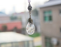 Wholesale Drop Glass Pendant Necklaces - 10PCS 30x18MM Glass Tear Drop Dandelion Real Seed Globe Necklace,Glass Orb Pendant,Hand Blown, Glass Globe, Bridal Jewelry GGJ-GJN-035