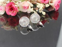 Wholesale Earrings Wishing - 10Pairs 16MM Glass Bubble Dandelion earrings,Wish Earrings,Glass dome dangle earrings filled with real dried dandelion seeds GGJ-GJE-003