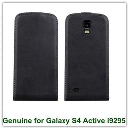 Wholesale S4 Flip Covers - New Arrival Magnetic Genuine Leathe Flip Cover Case for Samsung Galaxy S4 Active i9295 Free Shipping