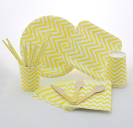 Wholesale Chevron Paper Yellow Straws - Yellow chevron party supplies birthday party round and square paper plates paper cups paper straws paper bags Wooden Forks Knifes Spoons