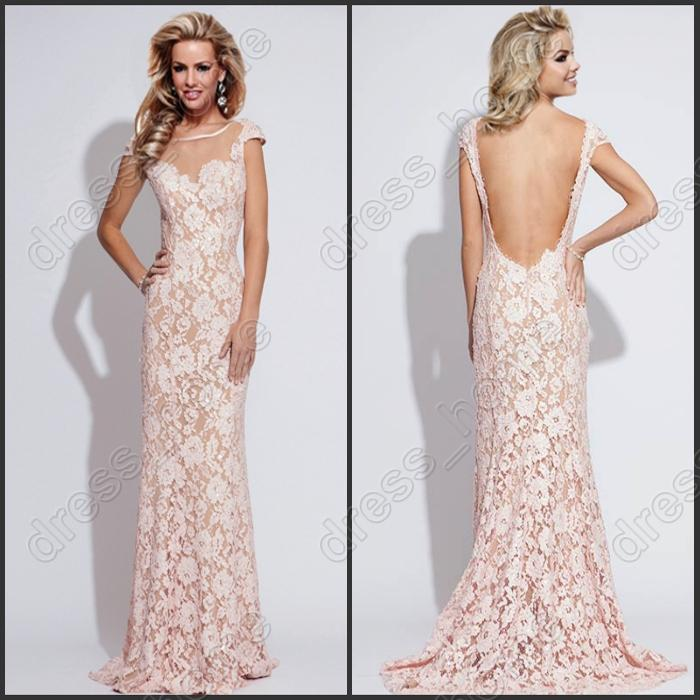 Unique Design Mermaid Crew Floor Length Pink Lace Prom Dresses Low ...