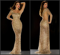 Wholesale Long Sleeved Gold Prom Dresses - New Arrival Bling Bling Celebrity Dresses Rhinestone Sequins Covered Single Sleeved Pageant Dresses Dazzling Evening Prom Dresses Gowns