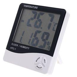 venda por atacado Multi-função HTC-1 Digital LCD Temperatura Humidade Higrômetro Termômetro Relógio Medidor de Umidade com Relógio Calendário Alarme 100 pcs